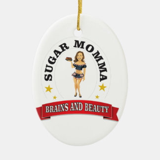 Brains and Beauty sm Ceramic Oval Ornament