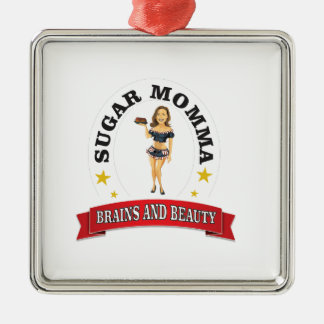 Brains and Beauty sm Silver-Colored Square Ornament