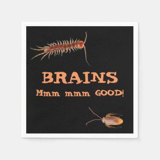Brains. Mmm mmm good! Hungry Zombie Halloween Disposable Napkin
