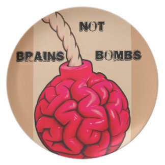 Brains Not Bombs Plate