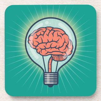 Brainy light bulb illustration beverage coasters