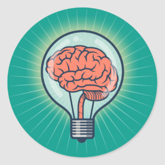 Brainy light bulb illustration classic round sticker