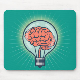 Brainy light bulb illustration mouse pad