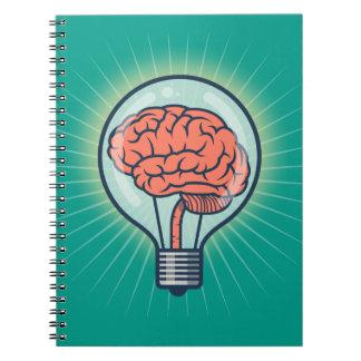 Brainy light bulb illustration notebooks