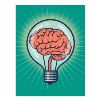 Brainy light bulb illustration postcard