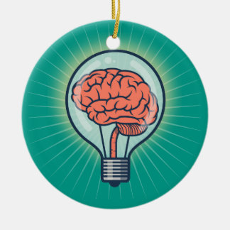 Brainy light bulb illustration round ceramic ornament