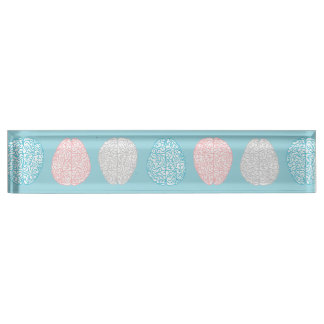 Brainy Pastel Pattern (Awesome Pastel Brains) Desk Name Plates