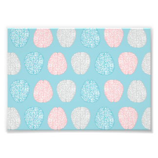 Brainy Pastel Pattern (Awesome Pastel Brains) Photo Print