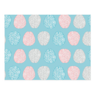 Brainy Pastel Pattern (Awesome Pastel Brains) Postcard