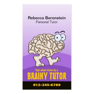 Brainy Tutor Cartoon Violet Business Card