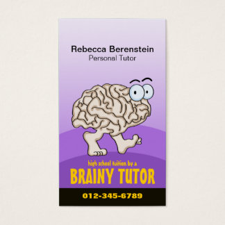 Brainy Tutor Cartoon Violet Business Card