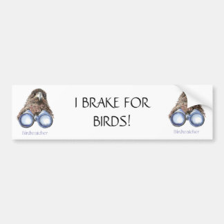 BRAKE FOR BIRDS FUNNY BIRD WATCHING HAWK QUOTE BUMPER STICKER