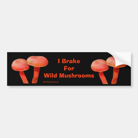 Brake For Mushrooms Funny Nature Bumper Sticker