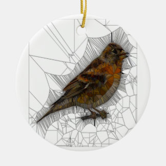 Bramble Finch Stained Glass Round Ceramic Ornament