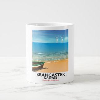 Brancaster Norfolk Railway Beach travel poster Large Coffee Mug