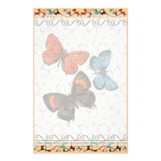 Branch Butterflies Lg Any Color Stationary Stationery