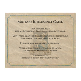 Branch Creeds - Military Intelligence Wood Prints
