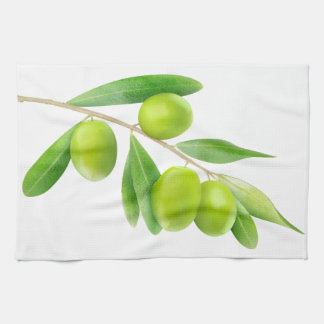 Branch with green olives kitchen towel