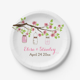 Branch with pink cherry blossoms spring wedding paper plate