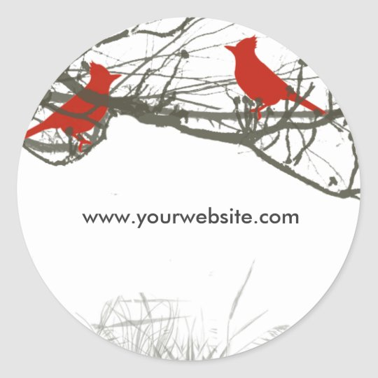 Branches and  Red  Singing Bird Classic Round Sticker