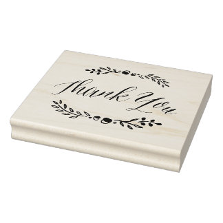 Branches Calligraphy Thank You Rubber Stamp