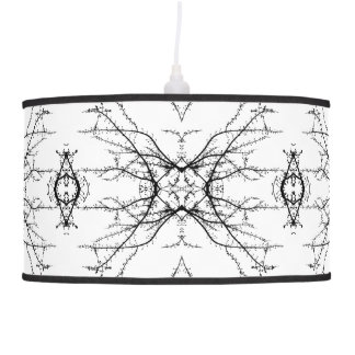 Branches kaleidoscope pattern | Black and White Ceiling Lamp