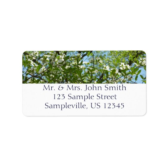 Branches of Dogwood Blossoms Spring Trees Label