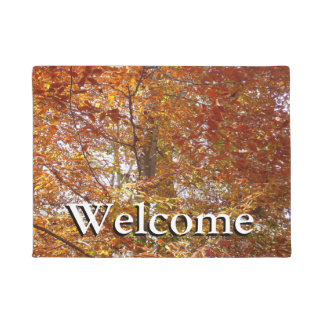 Branches of Orange Leaves Autumn Nature Doormat