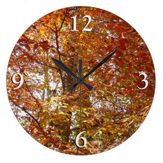 Branches of Orange Leaves Autumn Nature Large Clock