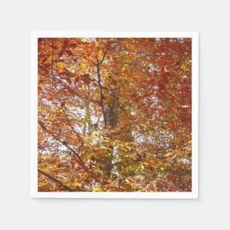 Branches of Orange Leaves Autumn Nature Paper Napkin