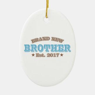 Brand New Brother Est. 2017 (Blue) Ceramic Oval Ornament