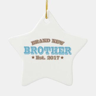 Brand New Brother Est. 2017 (Blue) Ceramic Star Ornament