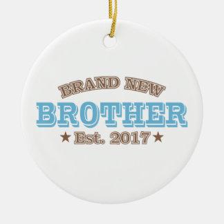 Brand New Brother Est. 2017 (Blue) Round Ceramic Ornament