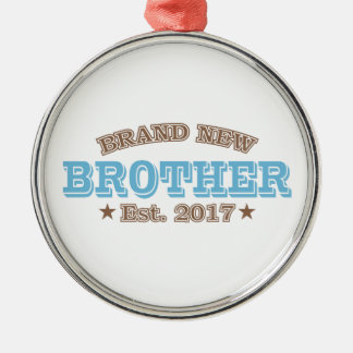Brand New Brother Est. 2017 (Blue) Silver-Colored Round Ornament