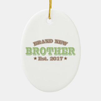 Brand New Brother Est. 2017 (Green) Ceramic Oval Ornament