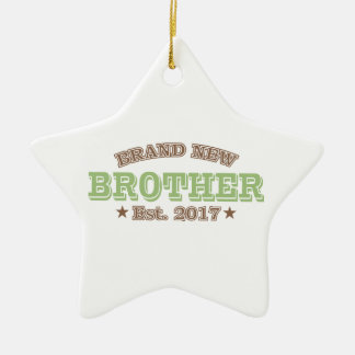 Brand New Brother Est. 2017 (Green) Ceramic Star Ornament