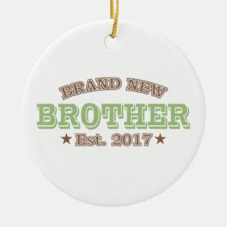 Brand New Brother Est. 2017 (Green) Round Ceramic Ornament