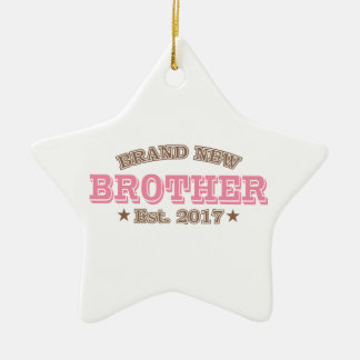 Brand New Brother Est. 2017 (Pink) Ceramic Star Ornament