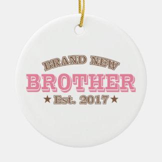 Brand New Brother Est. 2017 (Pink) Round Ceramic Ornament