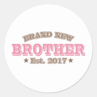 Brand New Brother Est. 2017 (Pink) Round Sticker