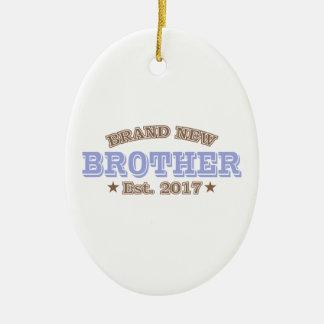 Brand New Brother Est. 2017 (Purple) Ceramic Oval Ornament