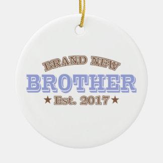 Brand New Brother Est. 2017 (Purple) Round Ceramic Ornament