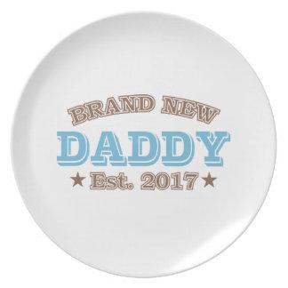 Brand New Daddy Est. 2017 (Blue) Dinner Plate