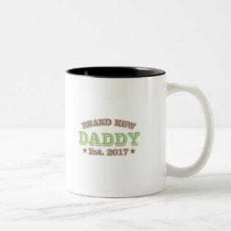 Brand New Daddy Est. 2017 (Green) Two-Tone Coffee Mug