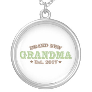 Brand New Grandma Est. 2017 (Green) Silver Plated Necklace