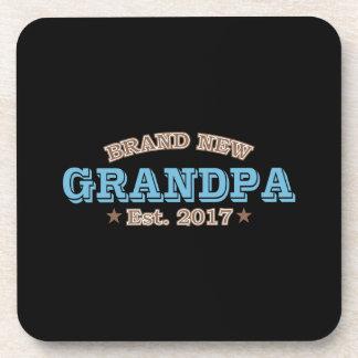 Brand New Grandpa Est. 2017 (Blue) Drink Coaster