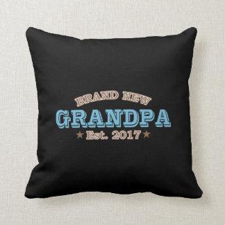 Brand New Grandpa Est. 2017 (Blue) Throw Pillow