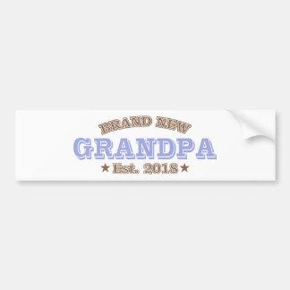 Brand New Grandpa Est. 2018 (Purple) Bumper Sticker
