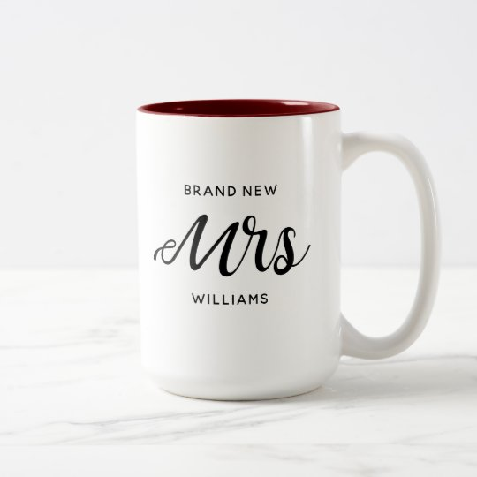 Brand New Mrs New Bride Calligraphy Two-Tone Coffee Mug
