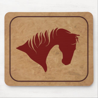 Branded Leather Horse Head Silhouette MOUSEPAD